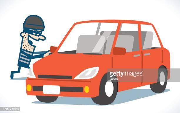 thief steals car - point of view stock illustrations