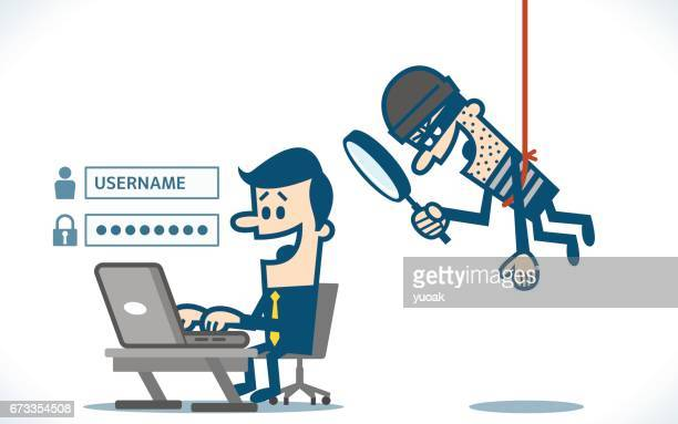 thief trying to hack personal information - security code stock illustrations