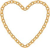 Thik golden chain - heart frame