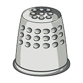 A thimble to protect your fingers when sewing.Sewing or tailoring tools kit single icon in cartoon style vector symbol stock illustration.