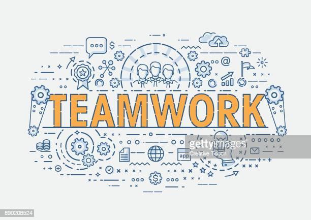 ilustrações, clipart, desenhos animados e ícones de conceito fino - trabalho em equipe - ocupação