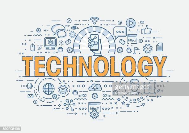 ilustrações, clipart, desenhos animados e ícones de conceito fino - tecnologia - criação digital