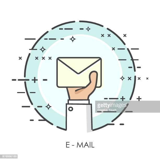 stockillustraties, clipart, cartoons en iconen met dunne handen concept - e-mail - e mail
