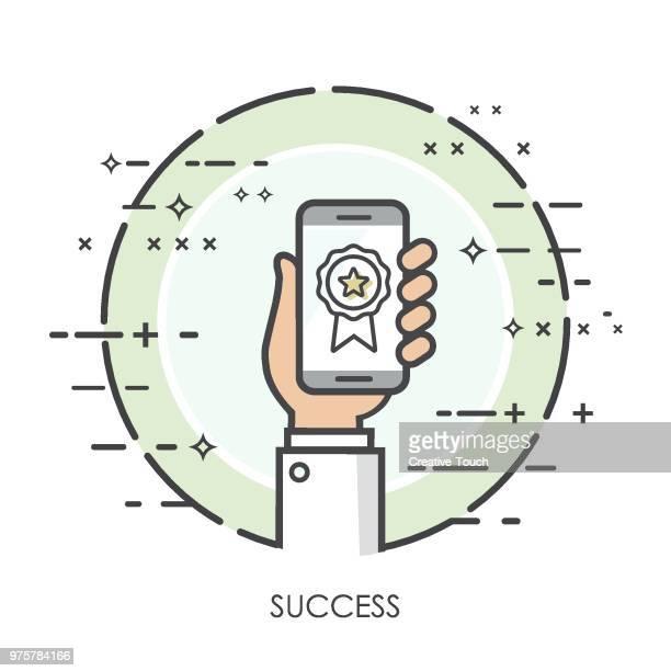 illustrations, cliparts, dessins animés et icônes de des mains fines concept - succès - permis de conduire