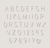 Thin light alphabet with shadow