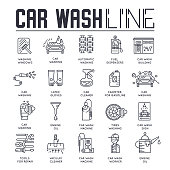 Thin line 24/7 working car wash with different equipment tool concept.  Flat outline car wash service building place. Vector illustration design icon