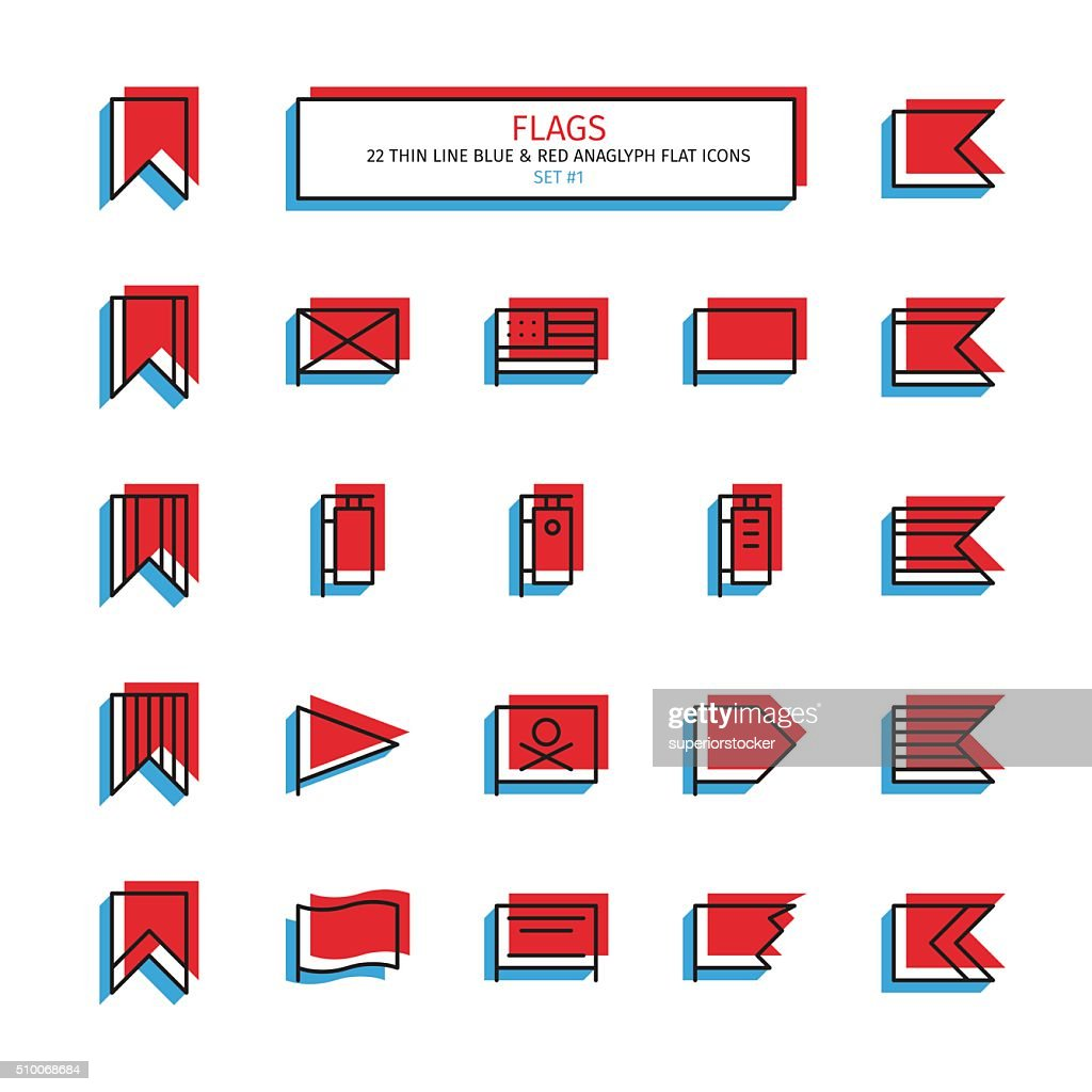 Thin line anaglyph style icons. Flags