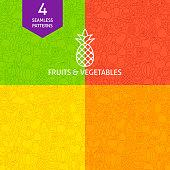 Thin Line Art Fruits & Vegetables Pattern Set