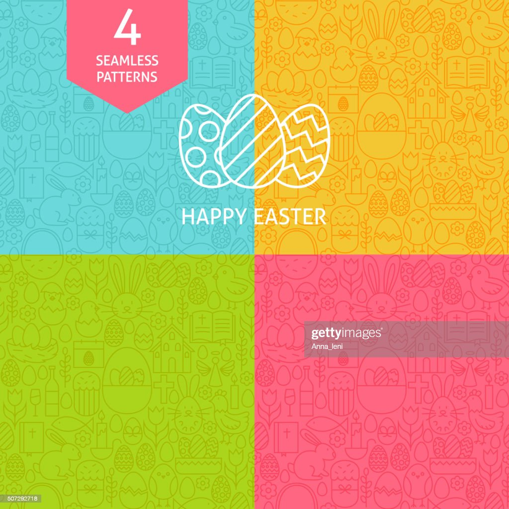 Thin Line Art Happy Easter Pattern Set