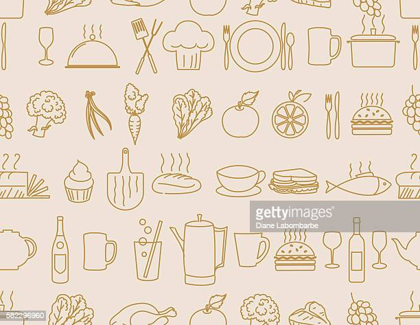 Thin Line Art Restaurant And Food Industry Icons Seamless Pattern