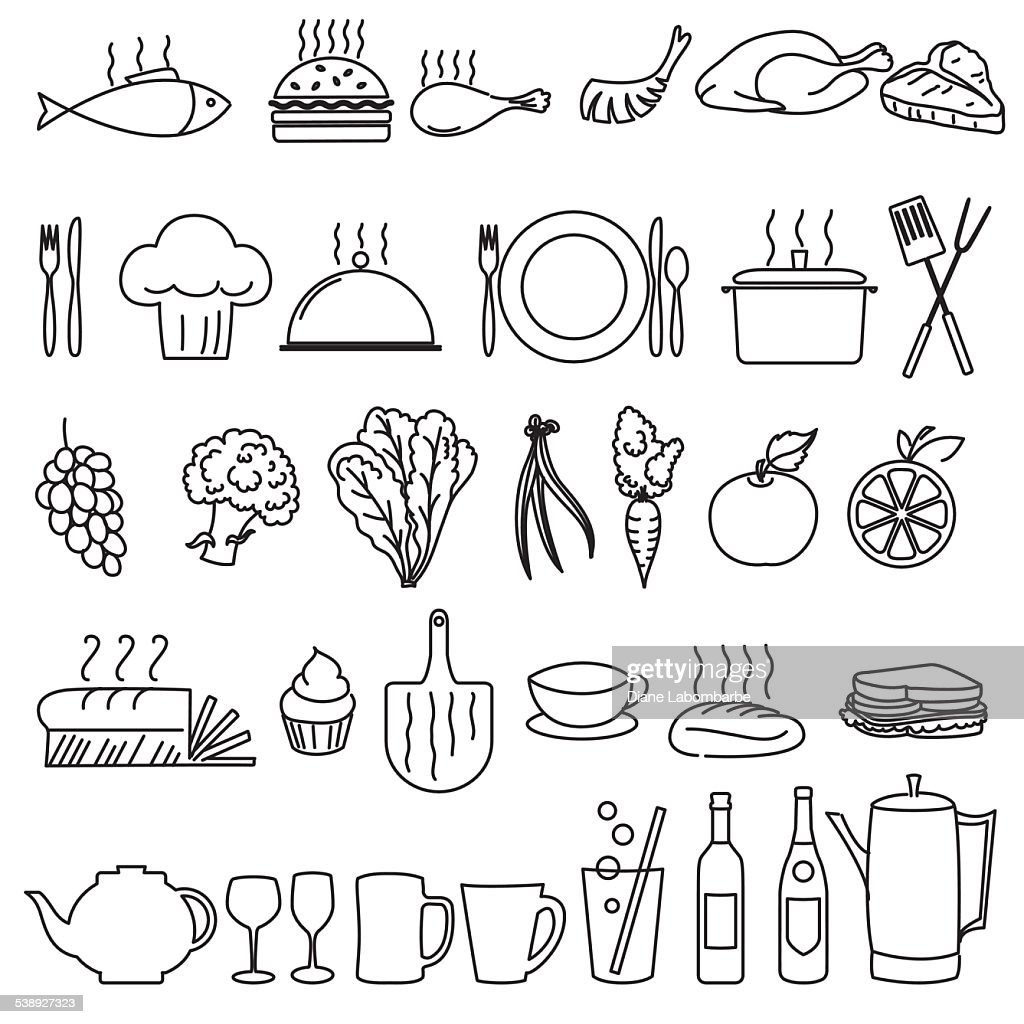 Thin Line Art Restaurant And Food Industry Icons : Vector Art