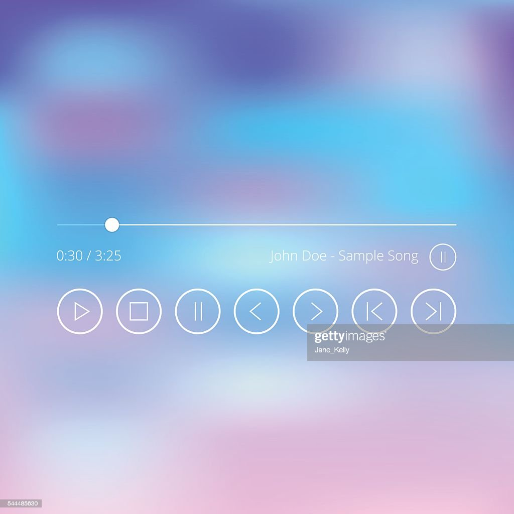 Thin line audio player UI. Music player app icons set.