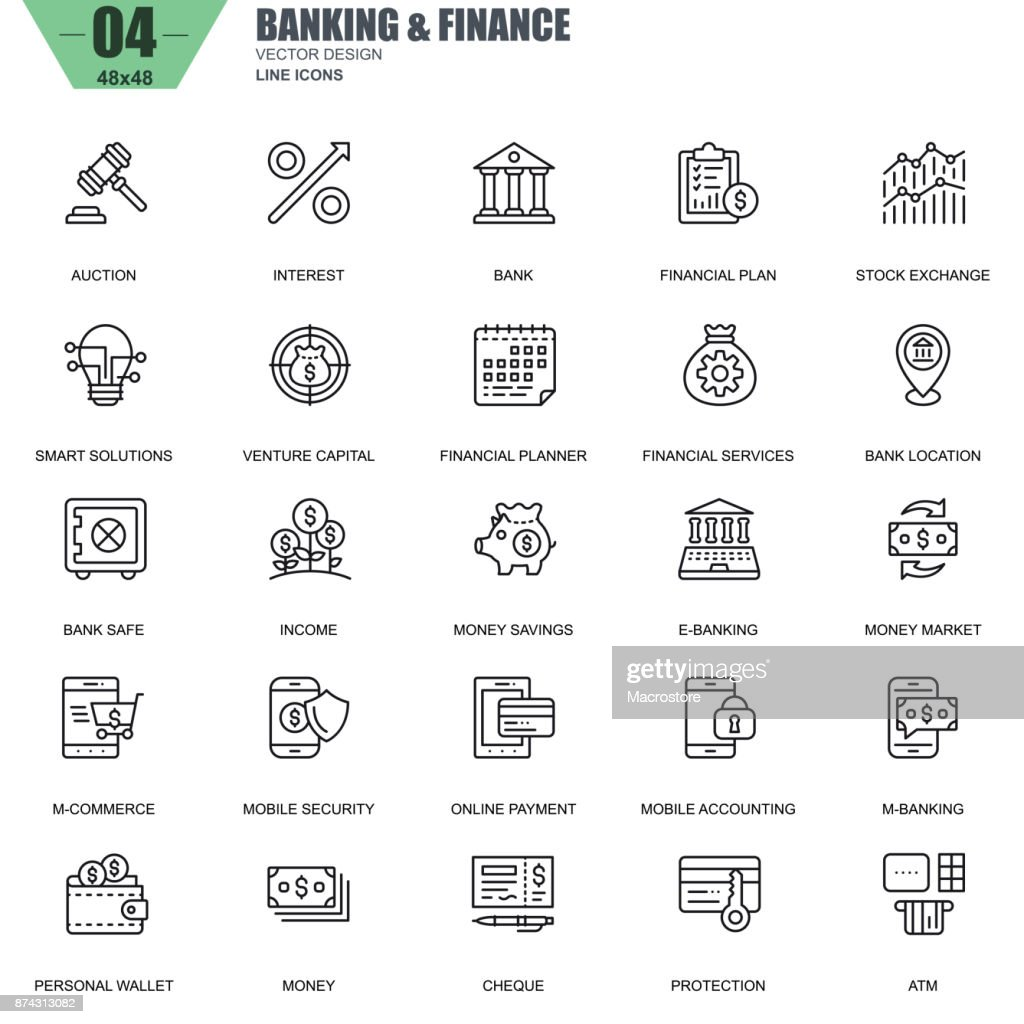 Thin line banking and finance icons set for website