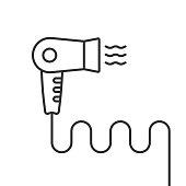 thin line black hair dryer simple icon