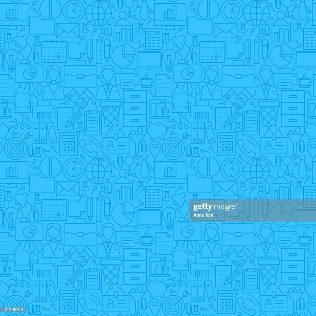 Thin Line Blue Office Business Seamless Pattern