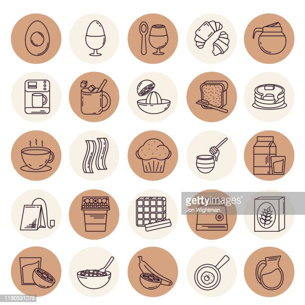 Thin Line Breakfast Icon Set