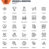 Thin line business and marketing icons set for website