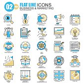 Thin line business and marketing icons set