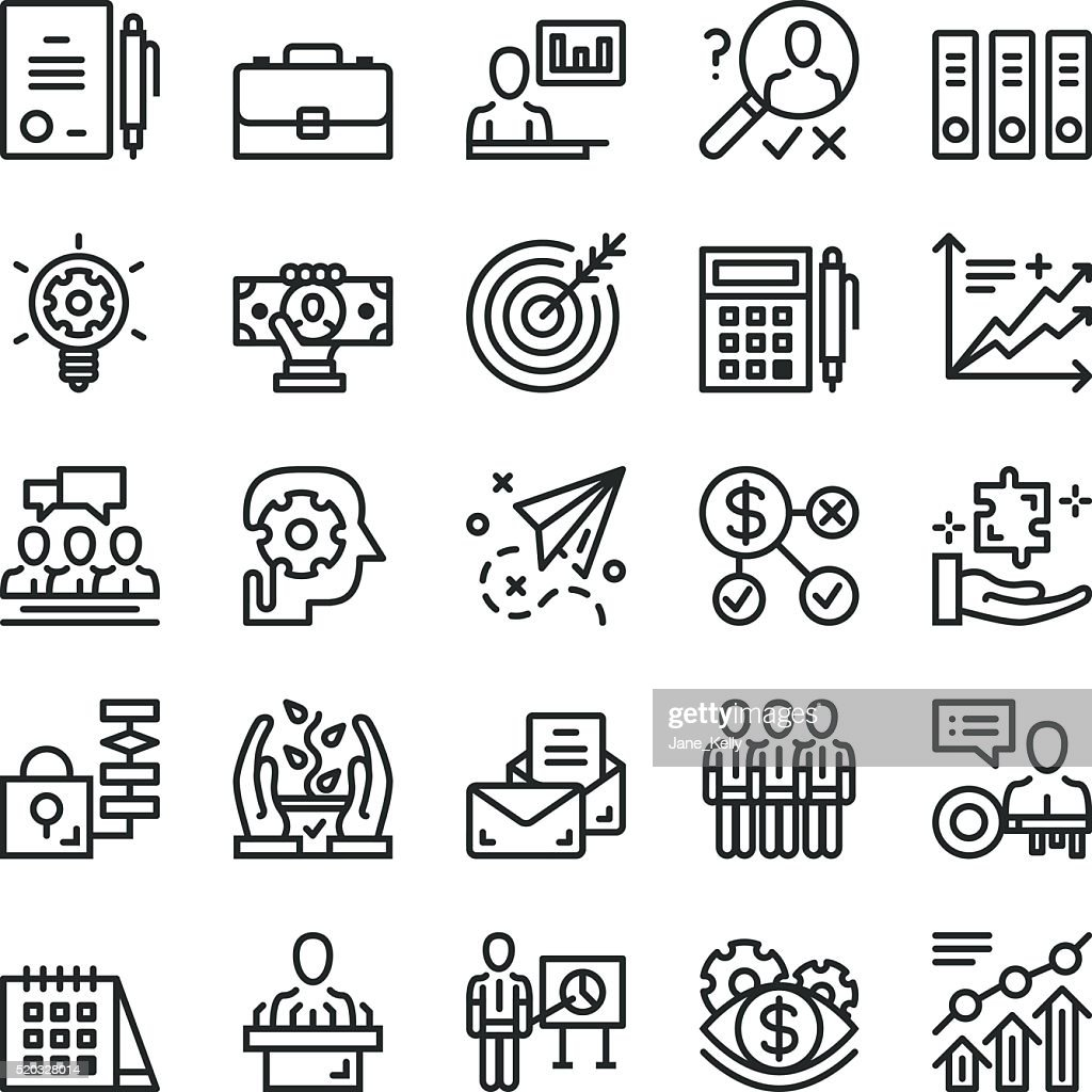 Thin line business icons set. Web icons. Black vector icons