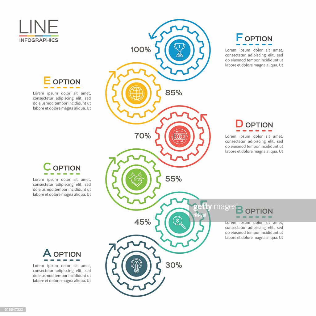Thin line business infographic template with gears 6 steps
