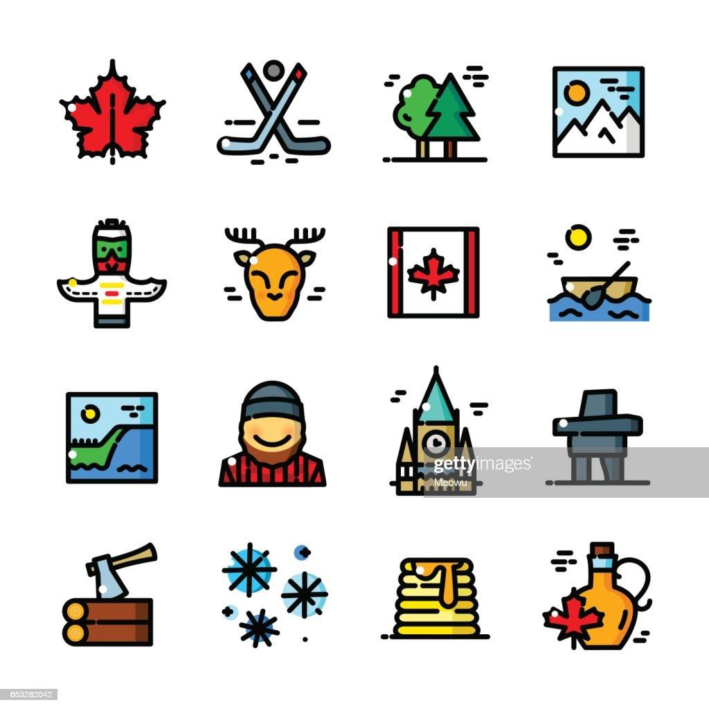 Thin line Canada icons set, vector illustration
