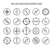 Thin line compass icons