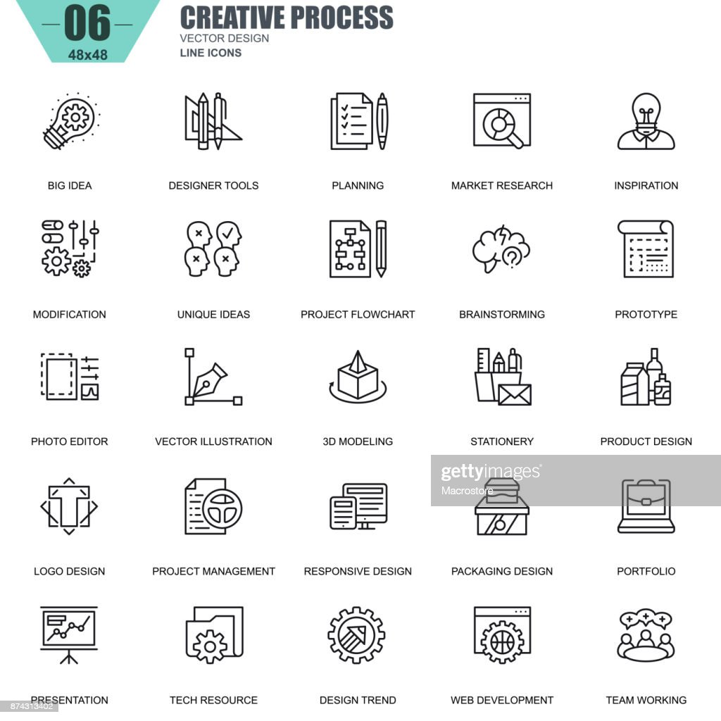 Thin line creative process and project workflow icons