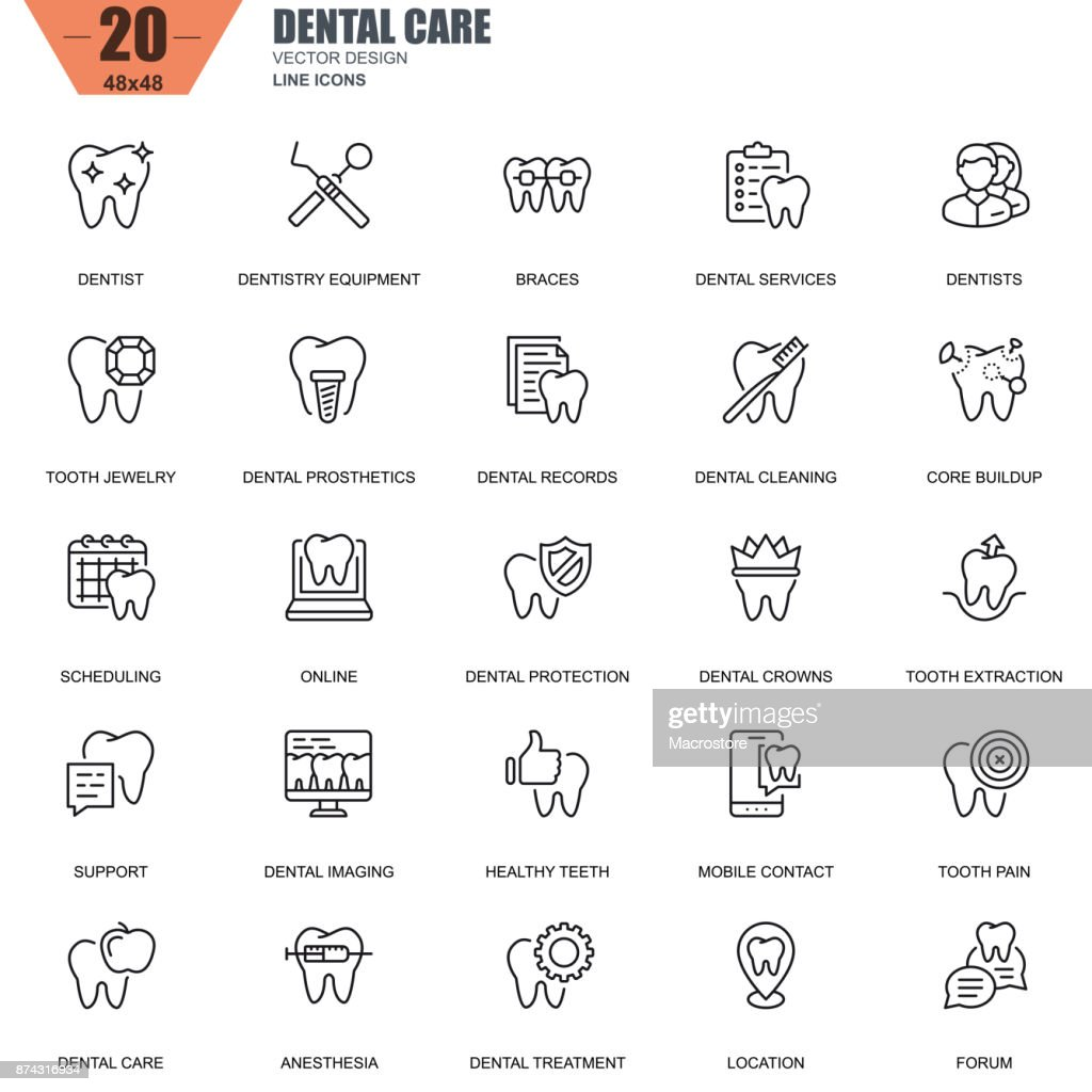 Thin line dental care, dentistry equipment, hygiene icons