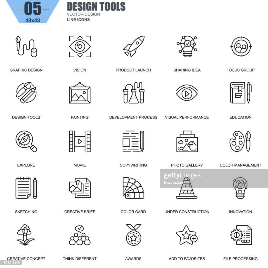 Thin line design tools, art and media icons set for website