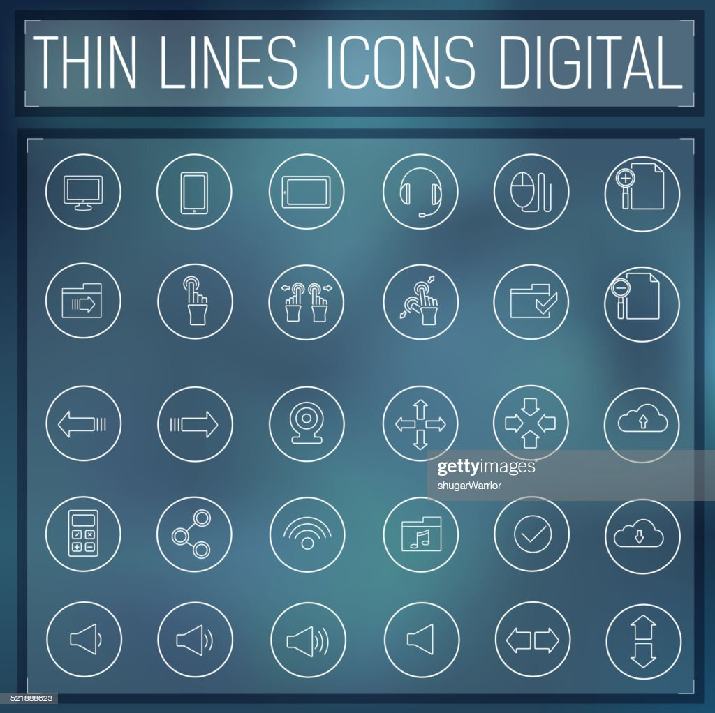 thin line digital icons. Template for web and mobile applications.