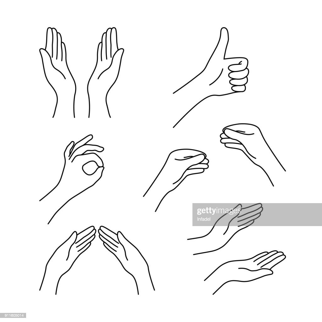 thin line drawing black hands collection