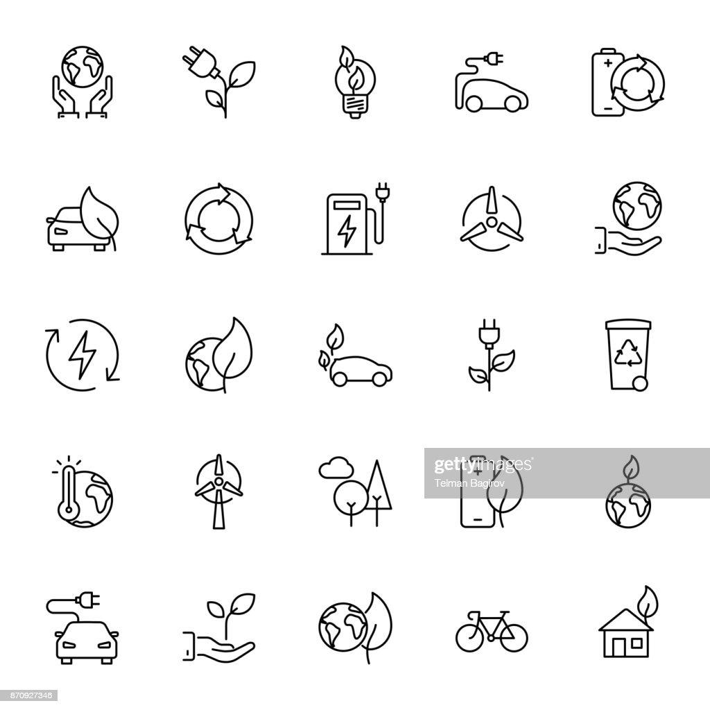 Thin line Ecology icons set