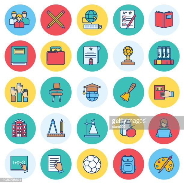 thin line education icon set - report card stock illustrations