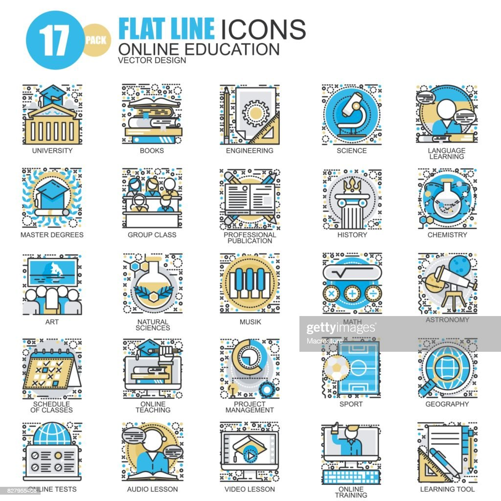 Thin line education, online training icons set