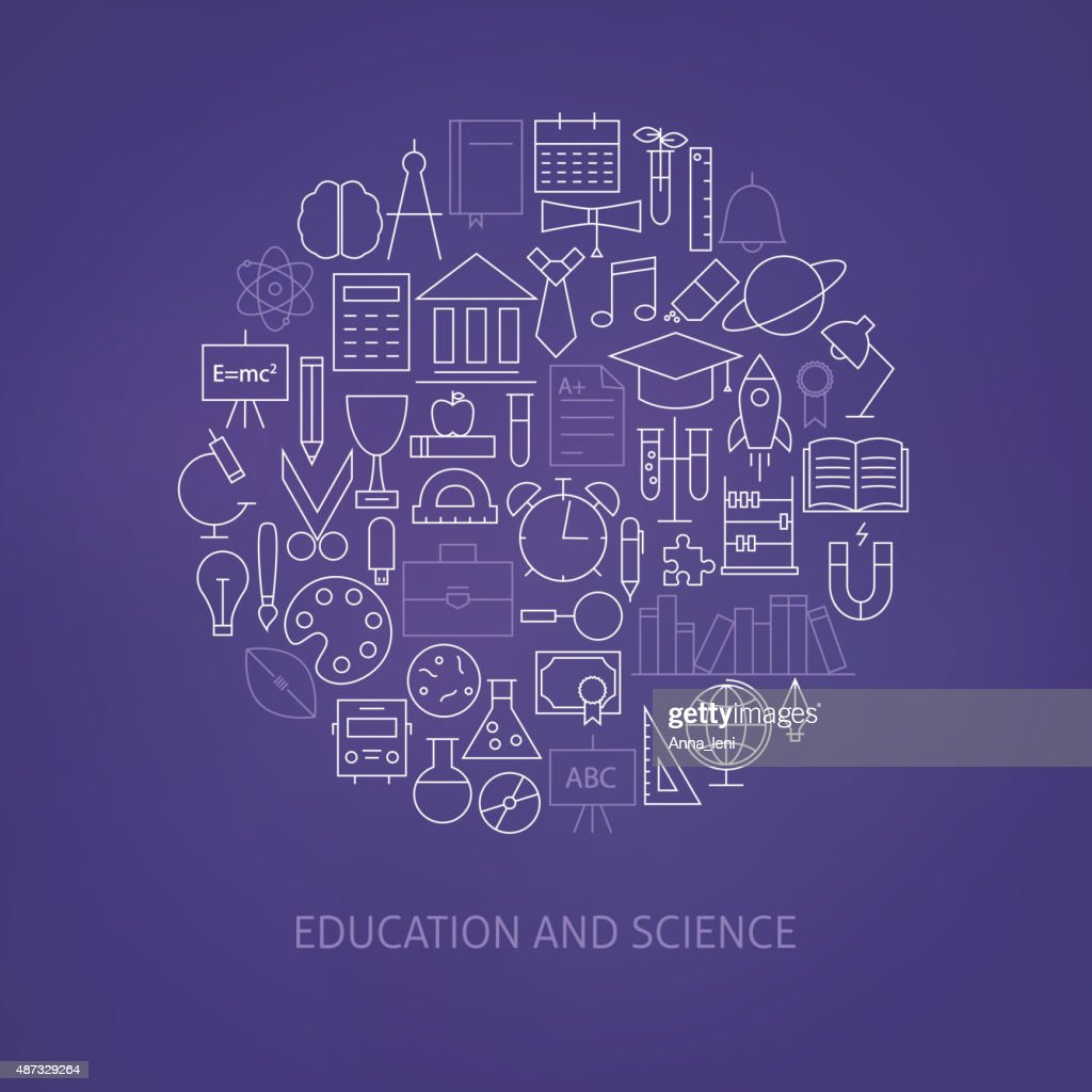Thin Line Education Science School Icons Set Circle Shaped Conce