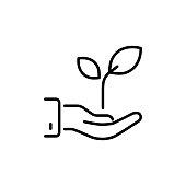 thin line efficient energy, plug with leaf icon
