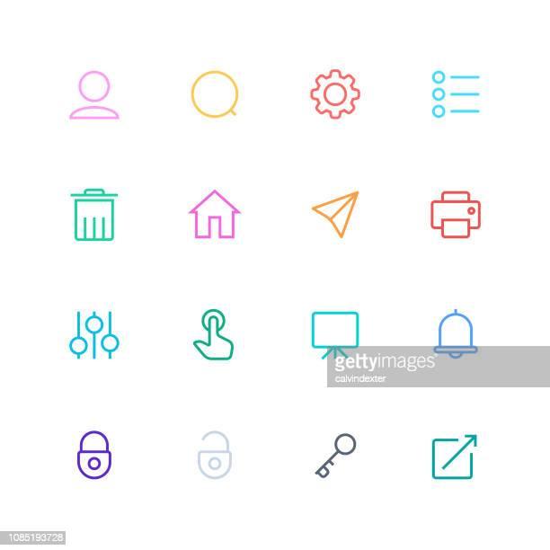 細い線の重要なアイコン セット 1 - ワールド・ワイド・ウェブ点のイラスト素材/クリップアート素材/マンガ素材/アイコン素材