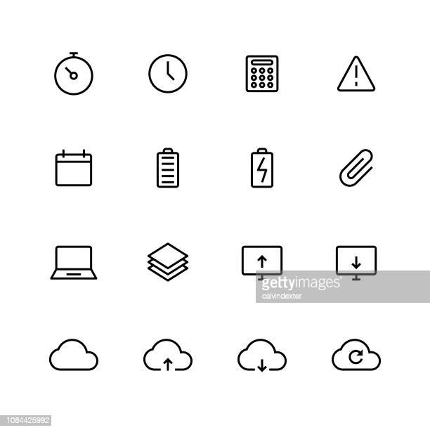 thin line essential icons set 2 - warning symbol stock illustrations