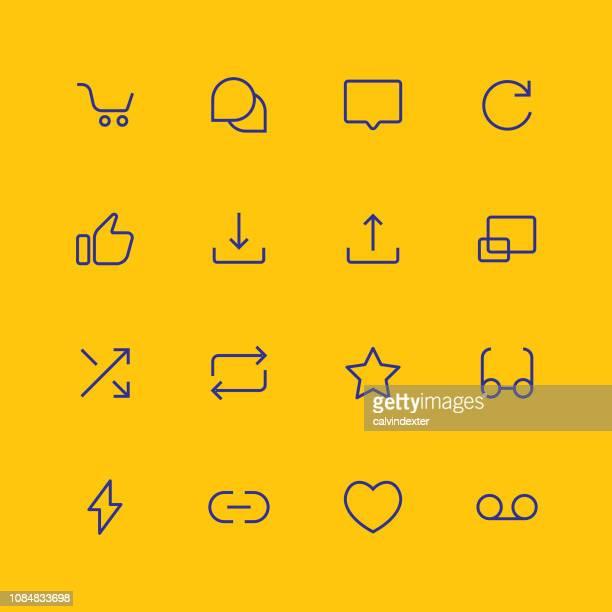 Thin line essential icons set 6