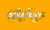 Thin line flat design banner of business and marketing strategy
