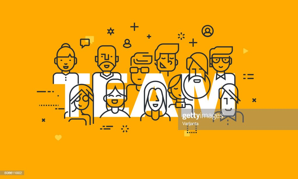 Thin line flat design banner of business people teamwork