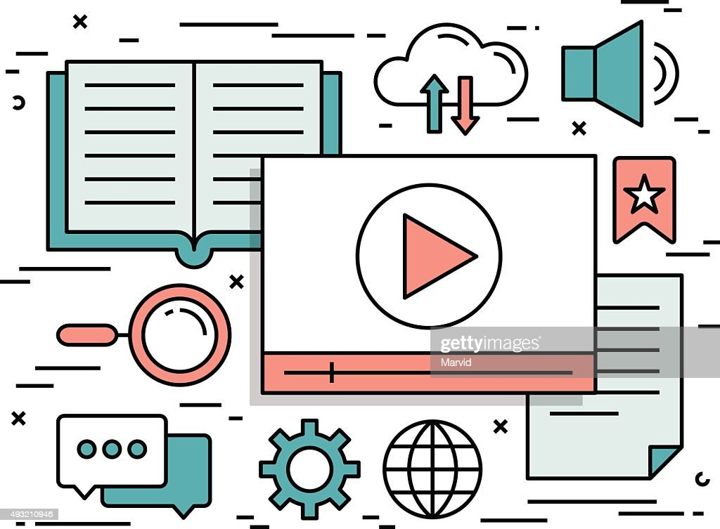 Thin line flat design concept of video tutorials