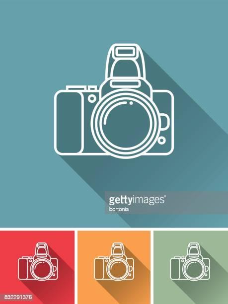 stockillustraties, clipart, cartoons en iconen met dunne lijn platte ontwerp fotografie pictogram: camera - digitale camera