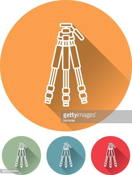 thin line flat design photography icon: tripod - camera tripod stock illustrations, clip art, cartoons, & icons