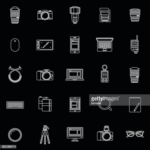 thin line flat design photography icon - camera tripod stock illustrations, clip art, cartoons, & icons