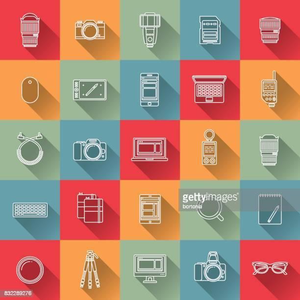 thin line flat design photography icon - light meter stock illustrations, clip art, cartoons, & icons