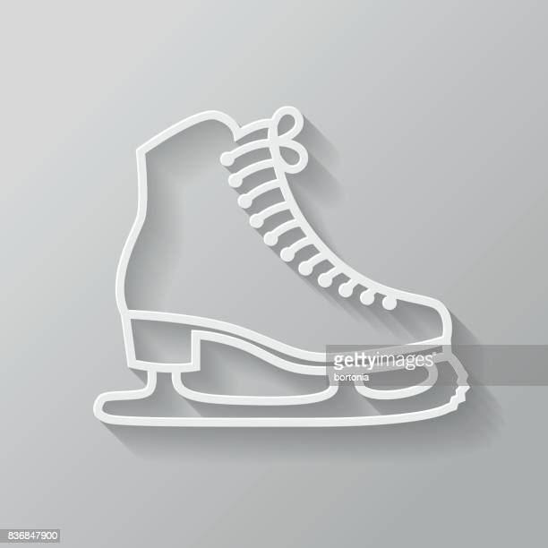 thin line flat design photography icon - ice skate stock illustrations, clip art, cartoons, & icons