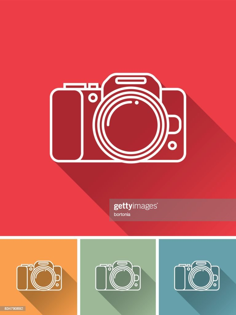 Thin Line Flat Design Travel and Travel Planning Icon: Camera