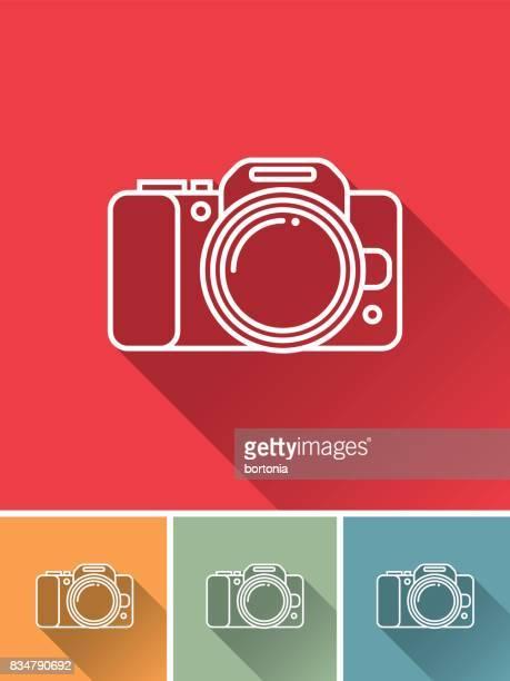ilustraciones, imágenes clip art, dibujos animados e iconos de stock de delgada línea plana diseño y planificación de icono: cámara - camara reflex