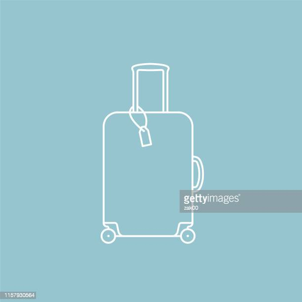 thin line flat design travel and travel planning icon: suitcase - luggage tag stock illustrations, clip art, cartoons, & icons